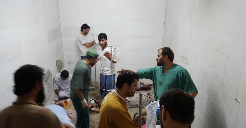 MSF staff treat injured colleagues and patients in the hospital's safe room after the airstrike. (Photo: MSF)
