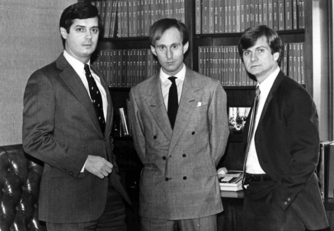 -Paul Manafort, Roger Stone and Lee Atwater, young Republicans political operatives who have set up lobbying firms. (Photo by Harry Naltchayan/The Washington Post via Getty Images)