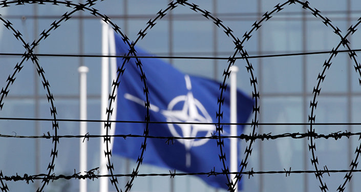 The NATO flag is seen through barbed wire as it flies in front of the new NATO Headquarters in Brussels, Belgium May 24, 2017